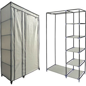 NEW-BEIGE-DOUBLE-CANVAS-WARDROBE-CLOTHES-HANGING-RAIL-STORAGE-WHITE-CREAM