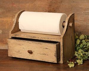 New Country Primitive Rustic Tan Wood Paper Towel Holder Bread Box