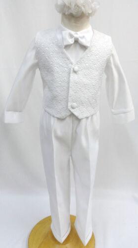 0-24M 2T 3T 4T Infant Toddler /& Boys CHRISTENING BAPTISM TUXEDO SUIT Sz: White