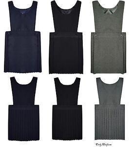 2ff178242 NEW Girls Kids School Uniform Pleated Pinafore Bib Dress Ages 2-3 to ...