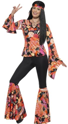 Ladies Orange Hippy Hippie 60s 70s Fancy Dress Costume Outfit UK 4-26 Plus Size