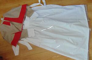 WW1-WW2-nurse-costume-style-uniform-DRESS-APRON-HEADGEAR-amp-CAPE-TAUPE-AND-RED