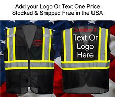 Customize Black Safety Vest Reflective High Vis Breathable Mesh One Imagelogo