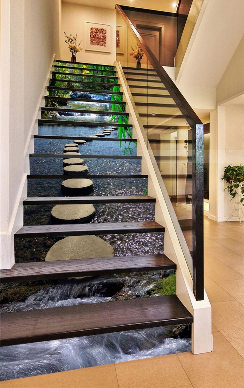 3D Stone Lake Road Stair Risers Decoration Photo Mural Vinyl Decal WandPapier UK