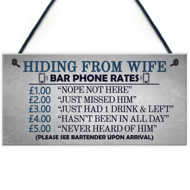 Gifts For Him Funny Man Cave Hiding From Wife Sign Pub Bar Plaque Dad Birthday