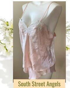 Vintage Victoria/'s Secret 100/% Silk Camisole Set Green with Pink Lace Medium Flutter Shorts Gold Label Crown Label Bow Details y2k 90/'s