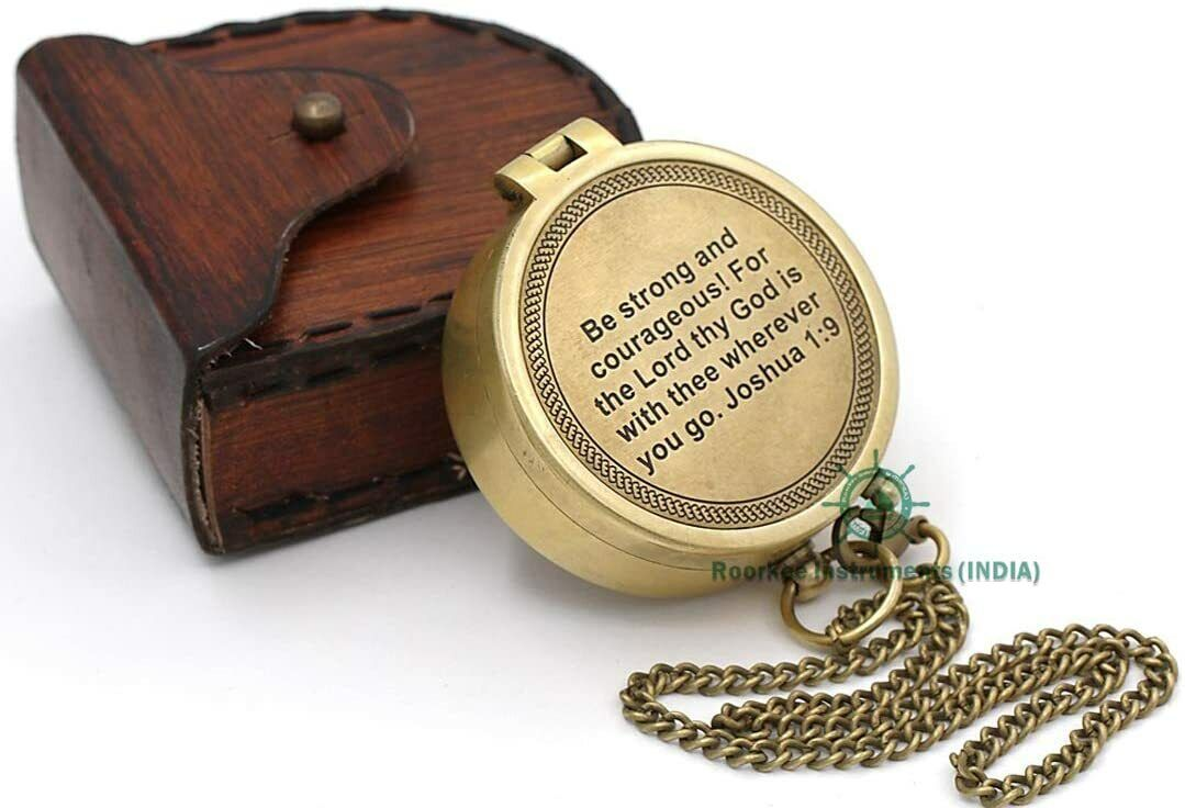 Brass Compass Personalized W. Leather Case Engraved