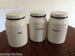 cream kitchen storage jars set of ceramic tea coffee sugar jars kitchen storage 6283