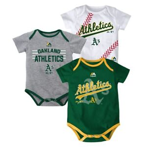 "Oakland Athletics MLB Majestic Infant ""Three Strikes!"" 3 Piece Creeper Set"