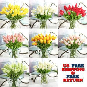10-Tulipanes-De-Flor-Artificial-Latex-Real-Tocar-Nupcial-Boda-Ramo-Decoracion-del-hogar