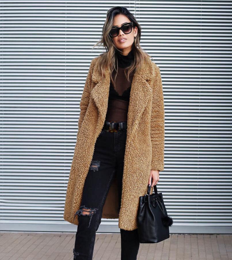 Women Winter Long Faux Fur Parka Coat Slim Soft Warm Elegant Outwear Party Sbox1