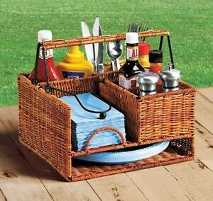 Wicker basket Picnic buffet Caddy Party Holder BBQ Utensil plate ...