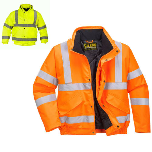 HIGH VISABILITY W2363 Mens Hi Vis Work Padded Bomber Jacket Coat By SITE KING