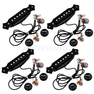 4 sets acoustic guitar prewired soundhole wiring harness pickups pots knobs jack ebay. Black Bedroom Furniture Sets. Home Design Ideas