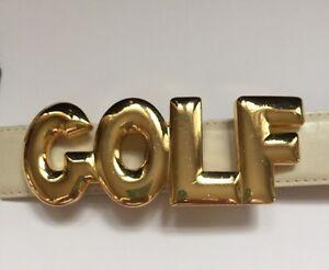 20074e120d6 Details about Vintage Ladies GOLF Gold Tone Accessory Accent NYC Belt Buckle