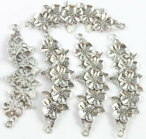 5PCS Tibetan silver flowers branch connector FC15577