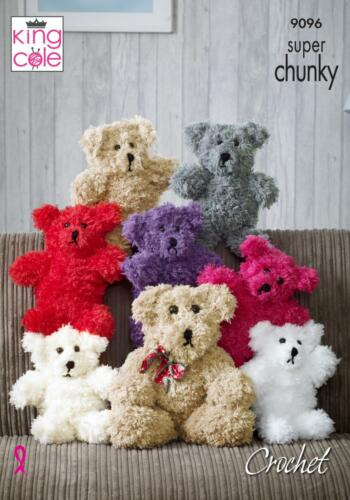 King Cole 9096 Crochet Pattern Teddy Bear Toy in Tufty /& Big Value Super Chunky