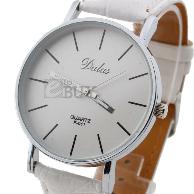 New Fashion Classic Women Lady Leather Band Analog Quartz Wrist Watch White