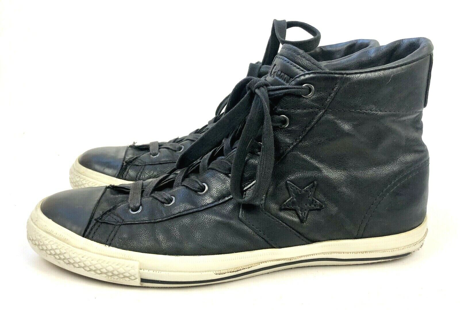 CONVERSE John Varvatos Black Leather Lace Up All Star High Top Sneaker Men's 9.5