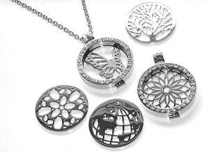 Stainless Steel Medaillon Memory Kette COIN IN Anhänger aus Edelstahl
