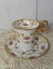 White & Gold Paragon England Bone China Pink Rose Tea Cup & Saucer Set 3440X
