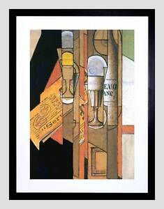 JUAN GRIS GLASSES NEWSPAPER WINE BOTTLE OLD MASTER FRAMED ART PRINT B12X828 Möbel & Wohnaccessoires