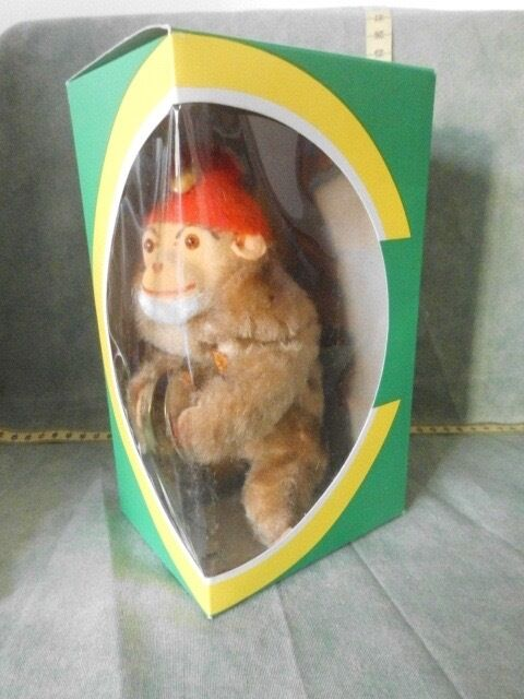 Musical Monkey Cymbals Fur Mechanical Wind Up Max bill Toy Vintage 1950-talet 1960