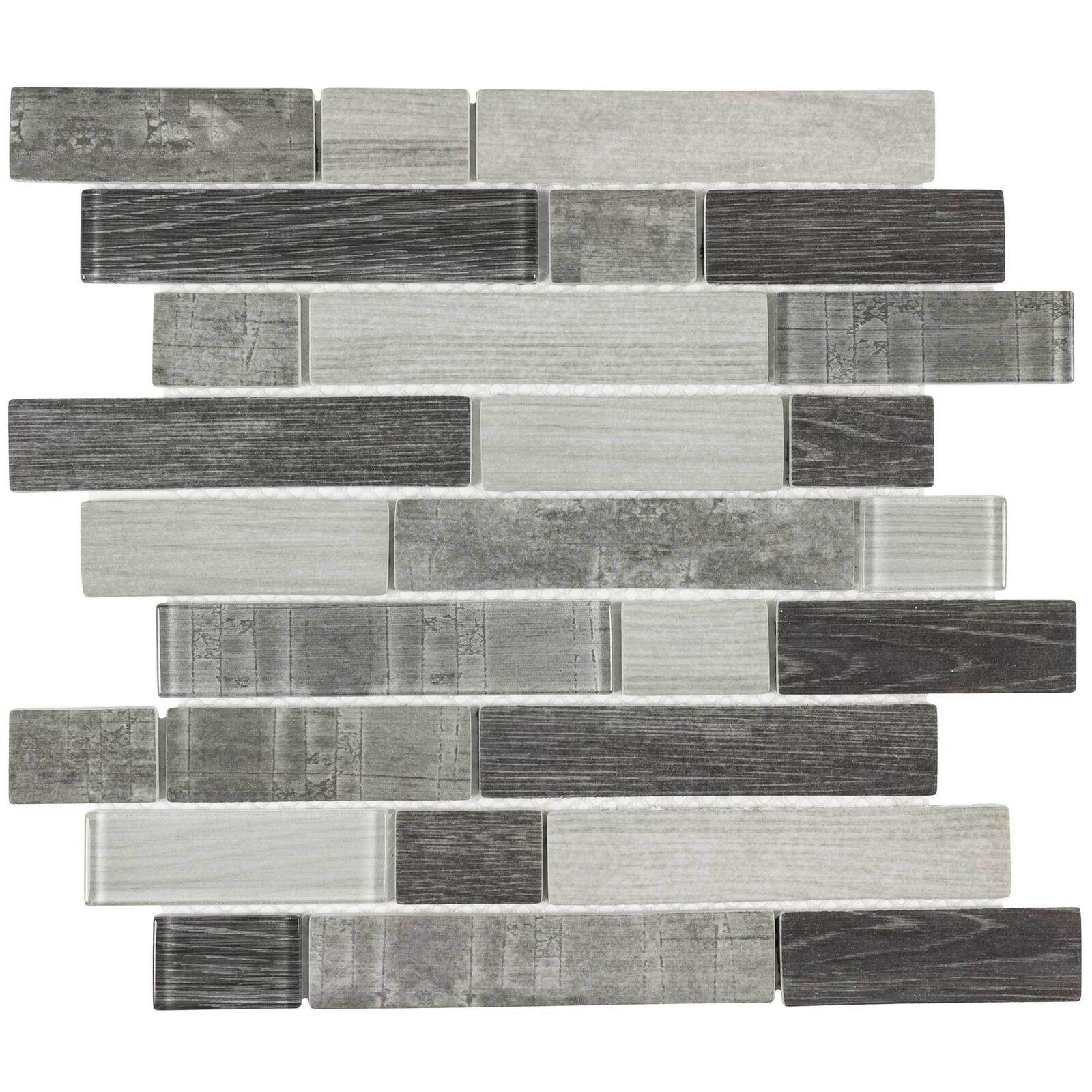 Modern Linear Grey Glass Mosaic Tile Backsplash Kitchen Wall Bathroom Mto0335 For Sale Online Ebay