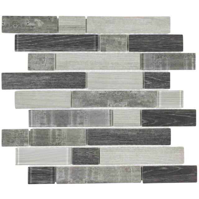 Kitchen Wall Tiles Modern: Modern Linear Grey Glass Mosaic Tile Backsplash
