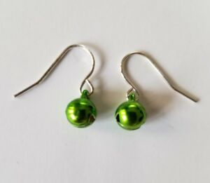 Green-Jingle-Bell-Silver-tone-Christmas-Ornament-Hook-Back-Earrings-Jewelry
