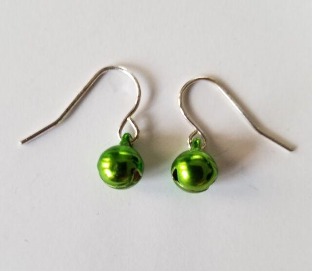 Green Jingle Bell Silver-tone Christmas Ornament Hook Back Earrings Jewelry