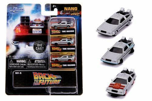 "/""BACK TO THE FUTURE/"" TIME MACHINE 3 CARS SET /""NANO HOLLYWOOD RIDES/"" JADA 31583"