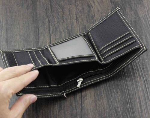 Mens Boys Trifold Casual Skull Wallet Money Purse With Jeans Pants Chain