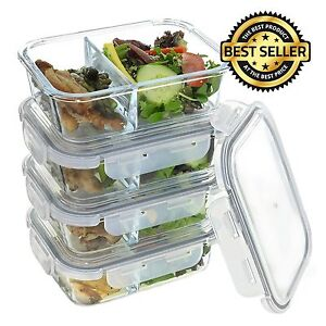 4Pcs Divided Glass Meal Prep Containers Food Storage Locking Lids