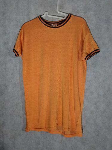 Hanes Sport Vintage 1960s Orange  Black Ringer Ath