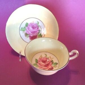 Rosina-Pedestal-Tea-Cup-And-Saucer-Yellow-With-Pink-And-Red-Roses-England