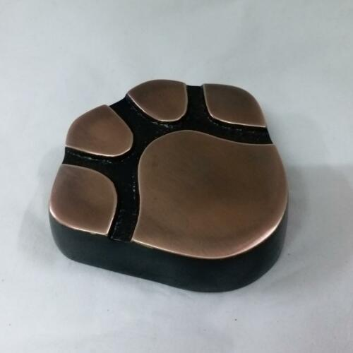 Solid brass cat dog pet paw print cremation funeral urn GOLD pawshaped BNIB