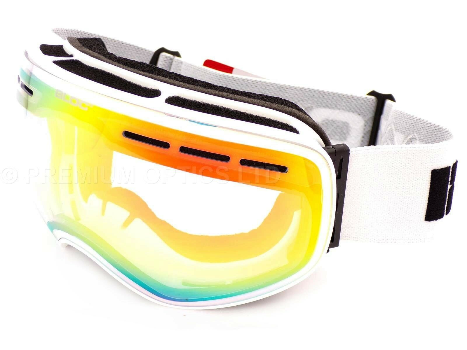 BLOC low light MOON 3 Medium Large Ski Snow Goggles Matt White  Red Mirror MT03