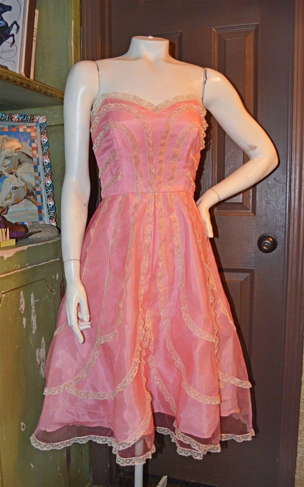 VINTAGE BETSY JOHNSON  RETRO 1950'S STYLE BABY Rosa PARTY DRESS W CRINOLINE   6