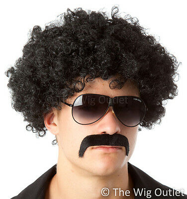 COOL 70's BLACK AFRO & MO COSTUME SET Borat Mens 60s Bucks Party Fancy Dress New