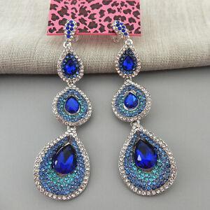 Betsey-Johnson-Blue-Crystal-Rhinestone-Teadrop-Dangle-Drop-Earrings