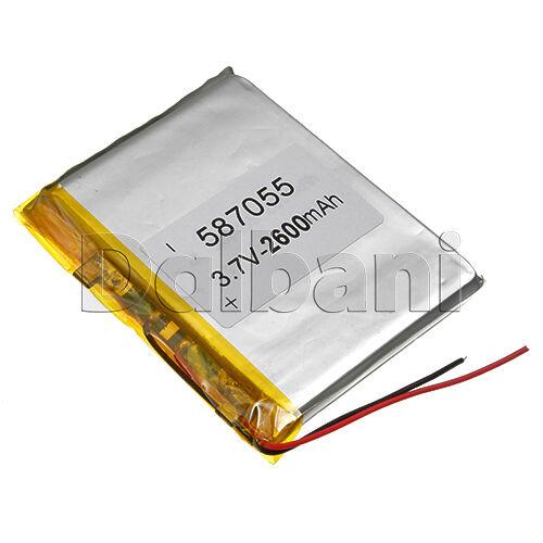 3.7V 2600mAh Internal Li-ion Polymer Built-in Battery 54x69x5.5mm 587055 16-0274