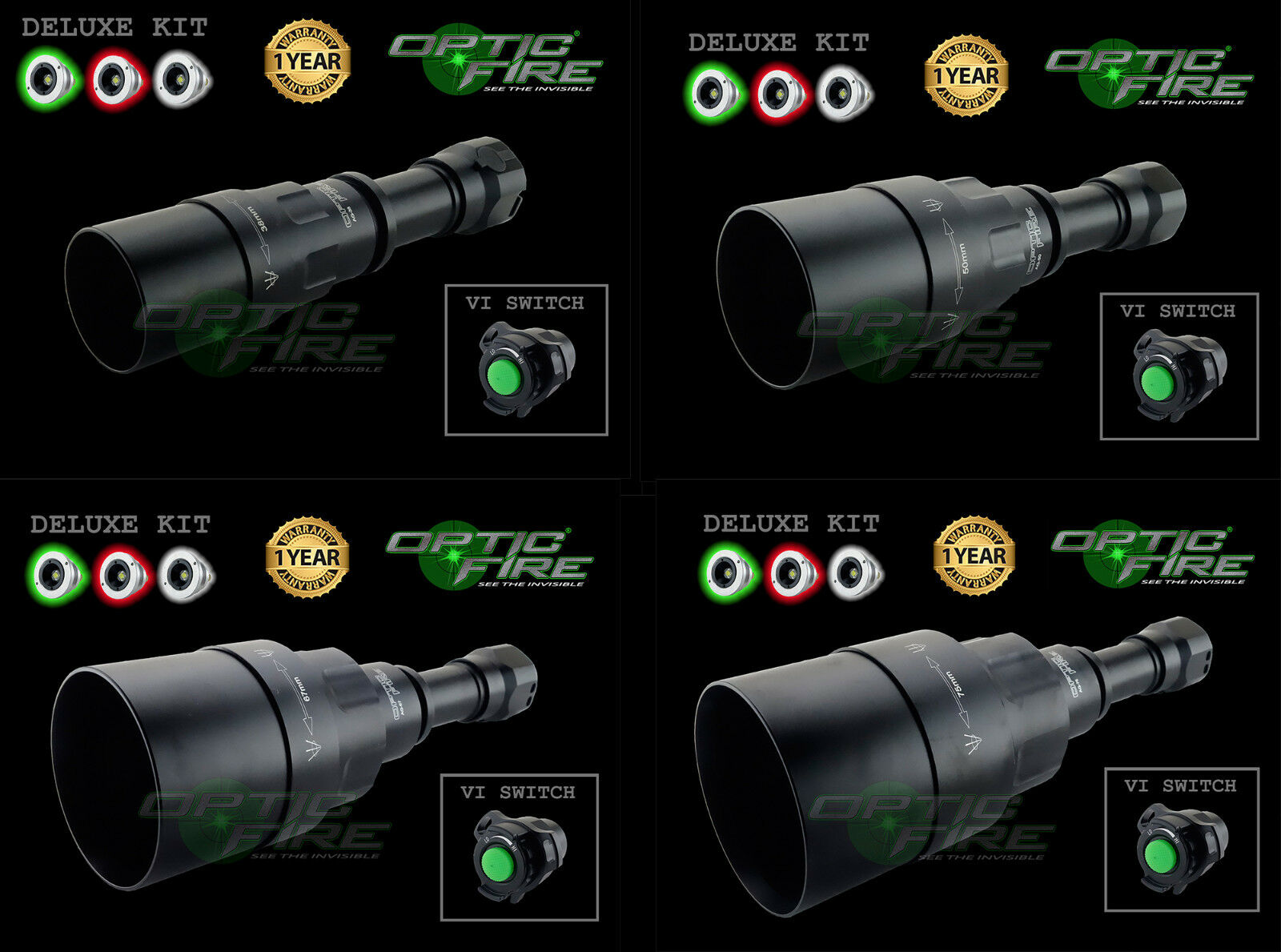 Opticfire® AG-VI  3 LED High power deluxe hunting torch light lamp lamping kit  considerate service