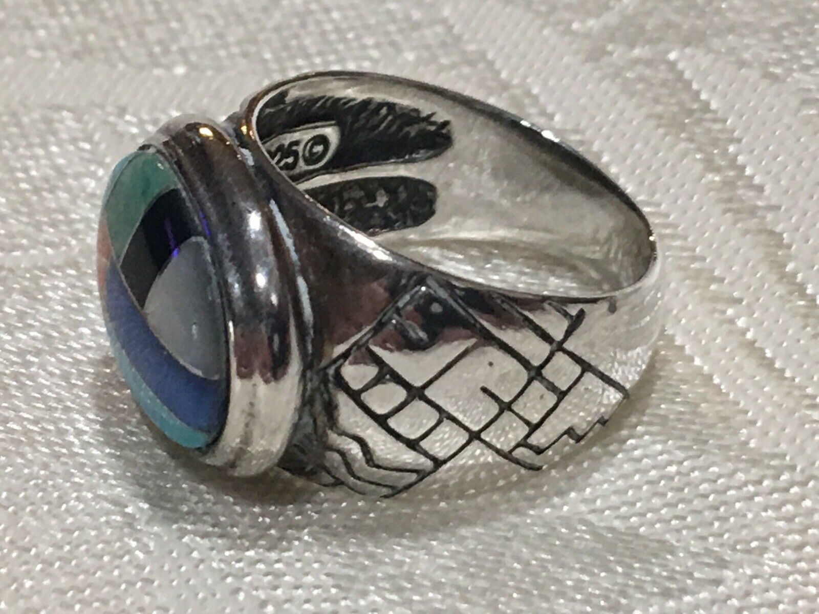 CAROLYN POLLACK SOUTHWESTERN Sterling Ring with Multi Inlaid Natural Stones