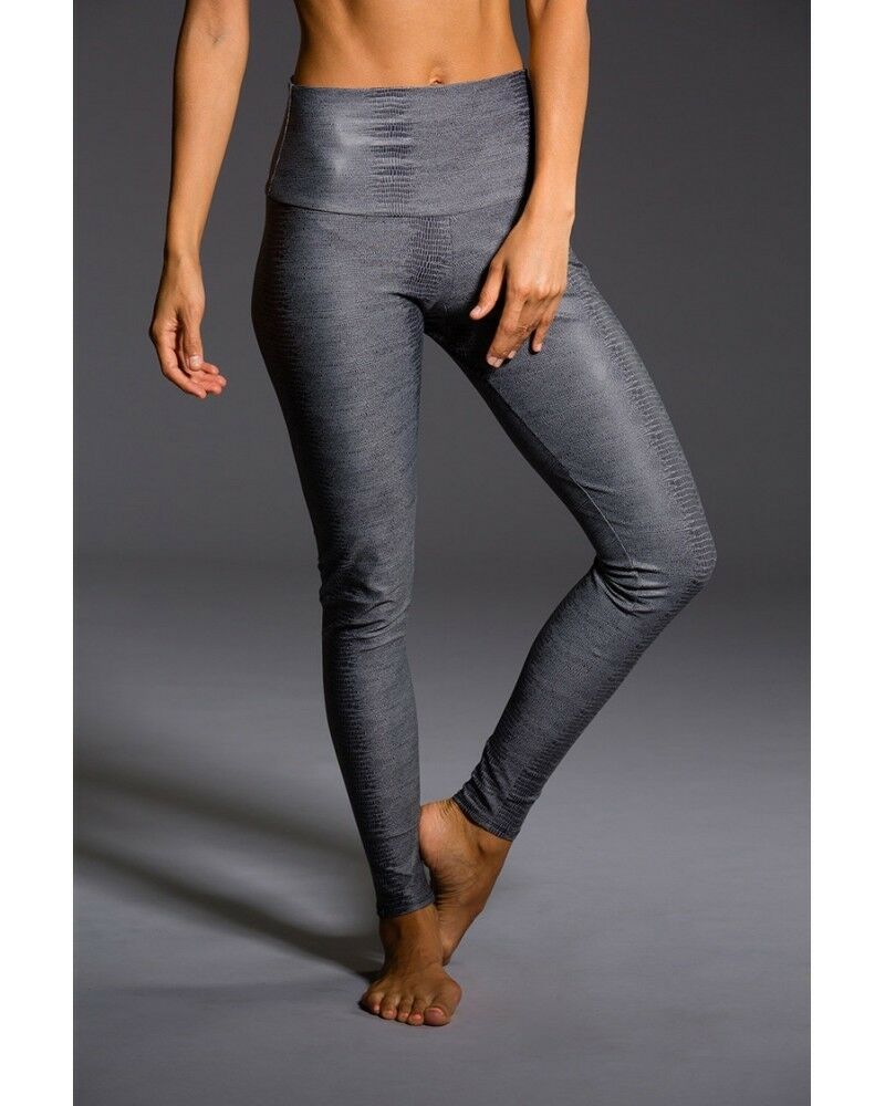 Onzie Hot Yoga High Rise Legging 228 Charcoal Snake
