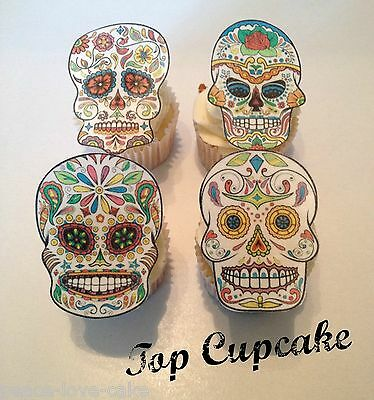 Edible Sugar Skull Cupcake Toppers