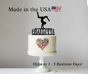 Image Is Loading Gymnast Cake Topper Gymnastics Walk Over Personalize Birthday