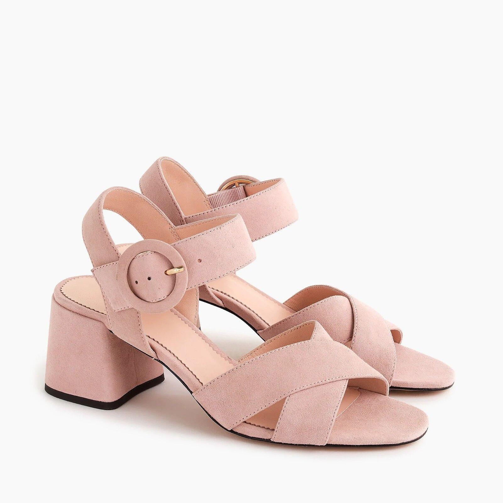 J. Crew Women's Suede Penny Sandals - NIB - Subtle Pink - Size 8