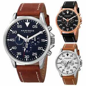 Men-039-s-Akribos-XXIV-AK773-Swiss-Multifunction-Day-Date-Leather-Strap-Watch