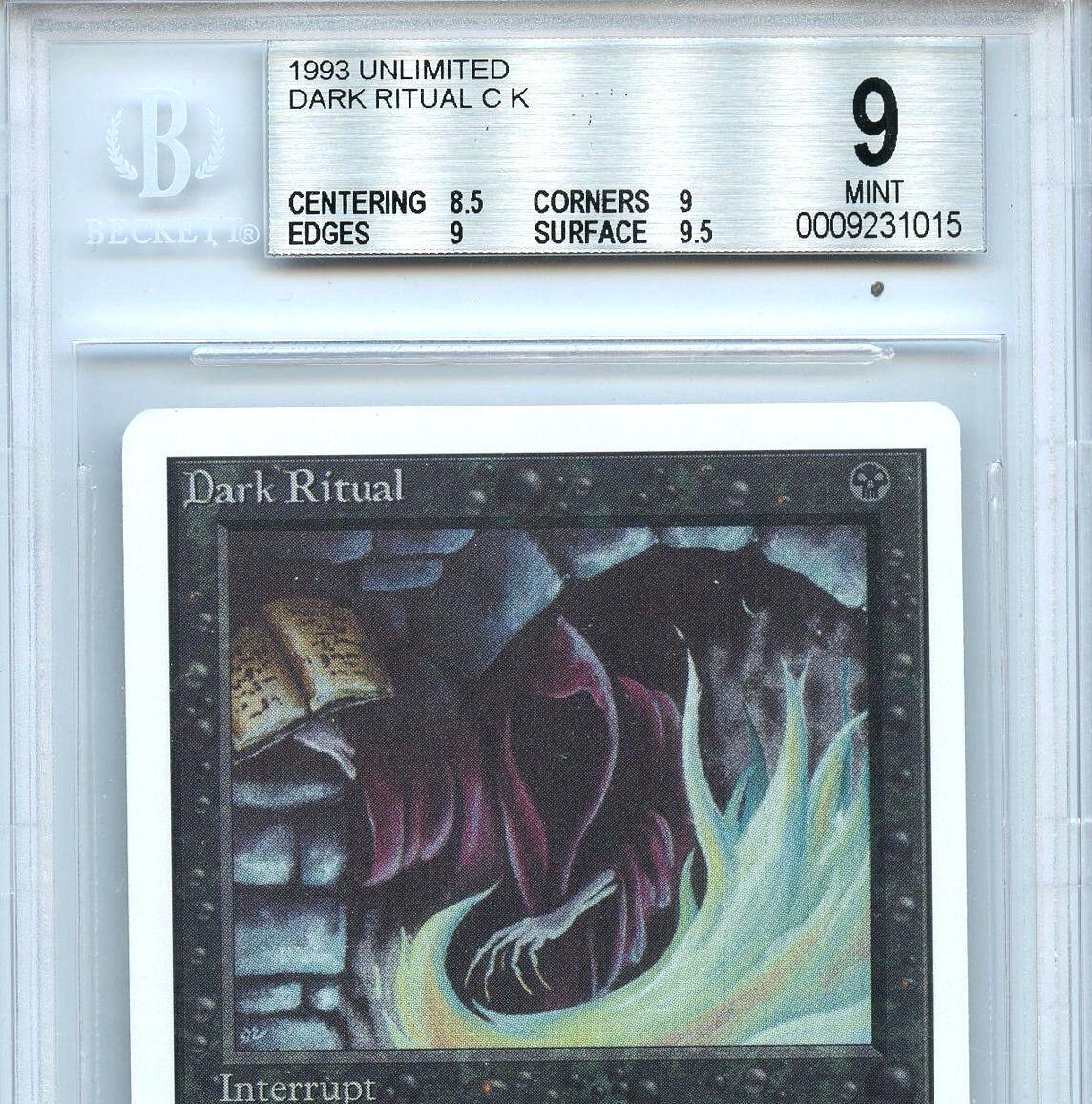 MTG Unlimited Dark Ritual Magic the Gathering Gathering Gathering WOTC BGS 9.0 (9) Mint Card 1015 ce516f